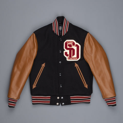 Studio D'Artisan Varsity jacket black brown horsehide sleeves