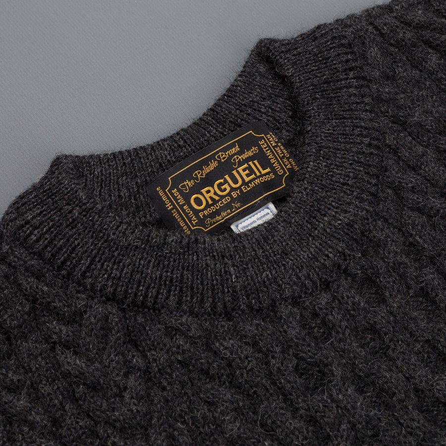Orgueil style Or-4026 wool cable knit Black