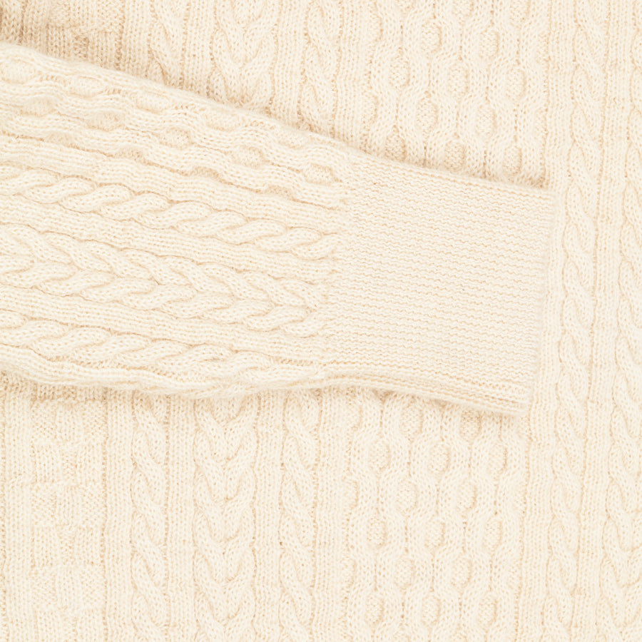 Orgueil style Or-4026 wool cable knit ivory