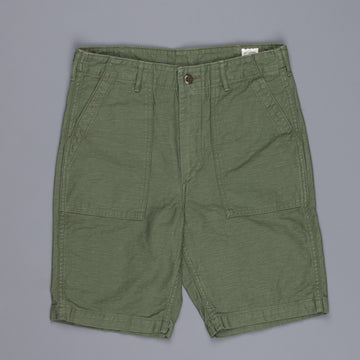 Orslow fatigue short pants in back satin green