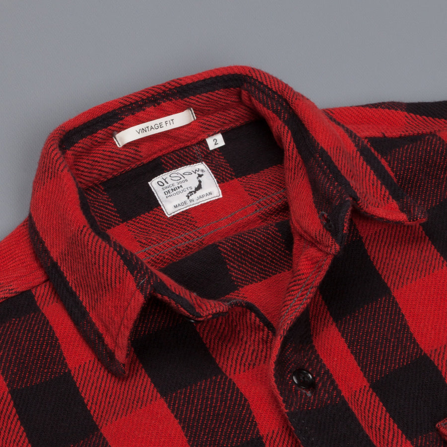 Orslow Flannel Shirt Vintage Fit Red