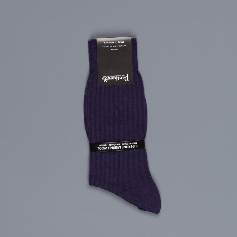 Pantherella Laburnum merino wool ankle high socks Blackberry