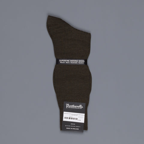 Pantherella Laburnum merino wool ankle high socks Dark Olive mix