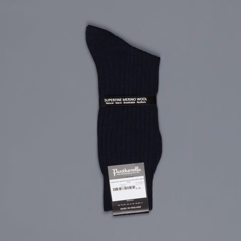 Pantherella Laburnum merino wool ankle high socks Navy