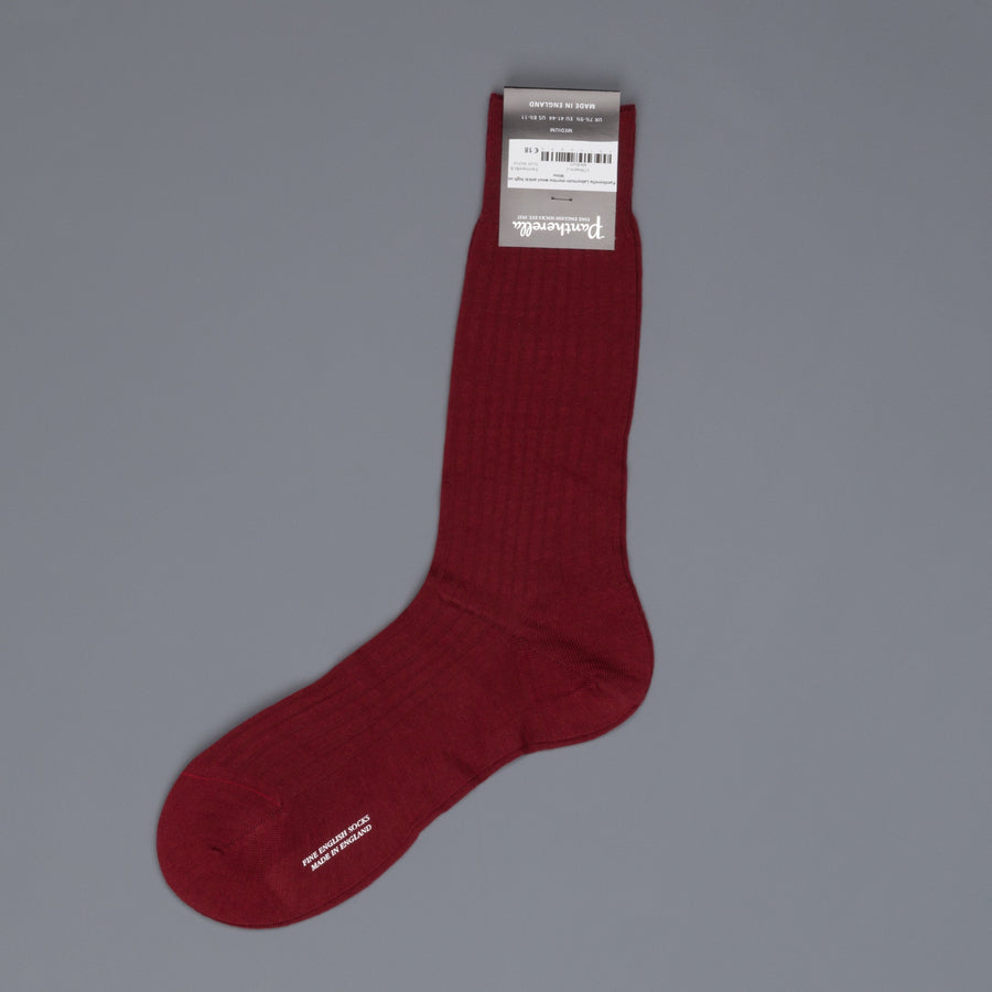 Pantherella Laburnum merino wool ankle high socks Wine