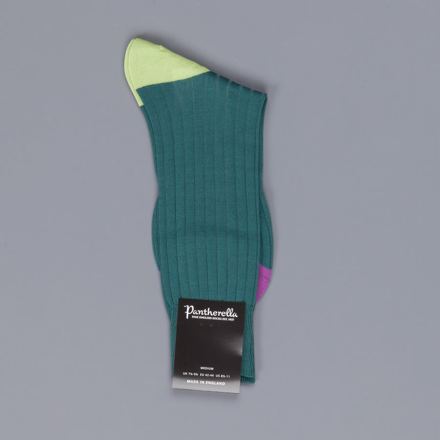 Pantherella Portobello Sea Green socks in egyptian cotton lisle