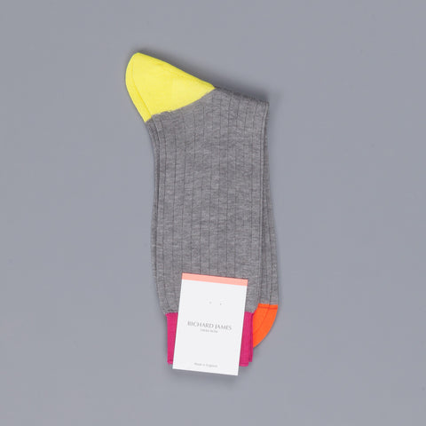 Richard James Berber cotton socks in Mid Grey Mix