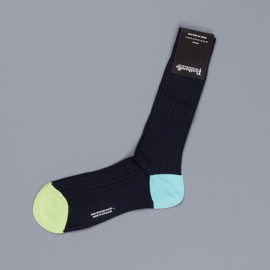 Pantherella Portobello Navy Socks in Egyptian Cotton Lisle