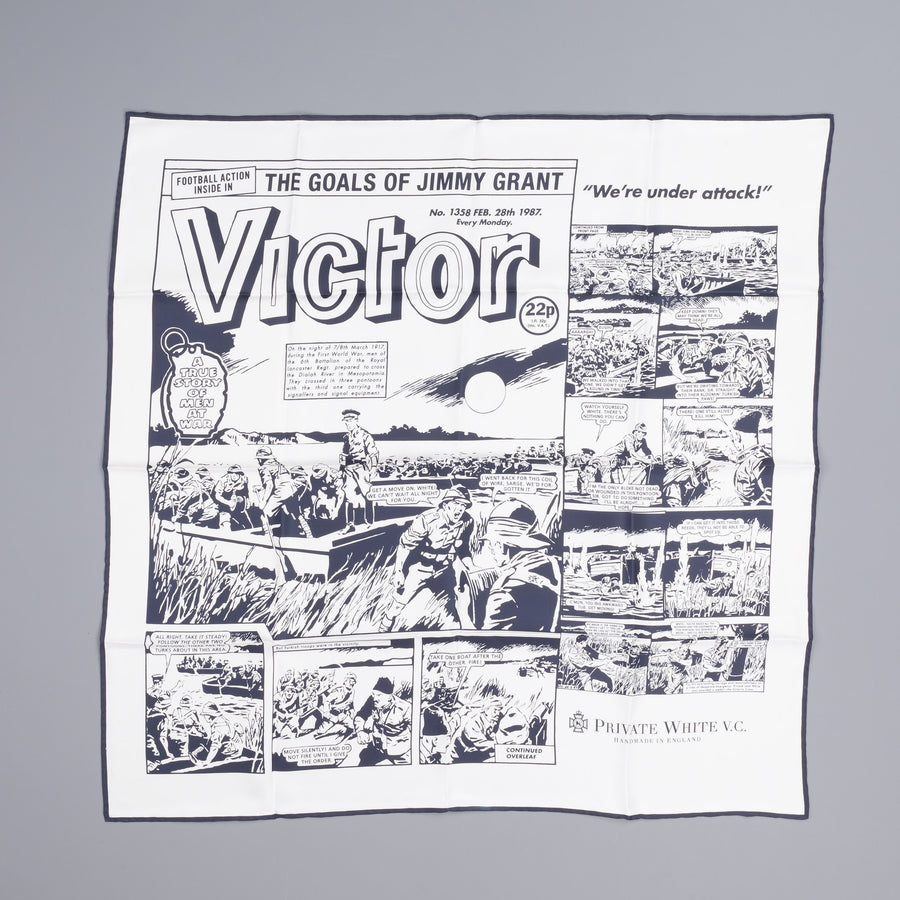 Private White v.c. Victor Motorcycle scarf Navy ecru