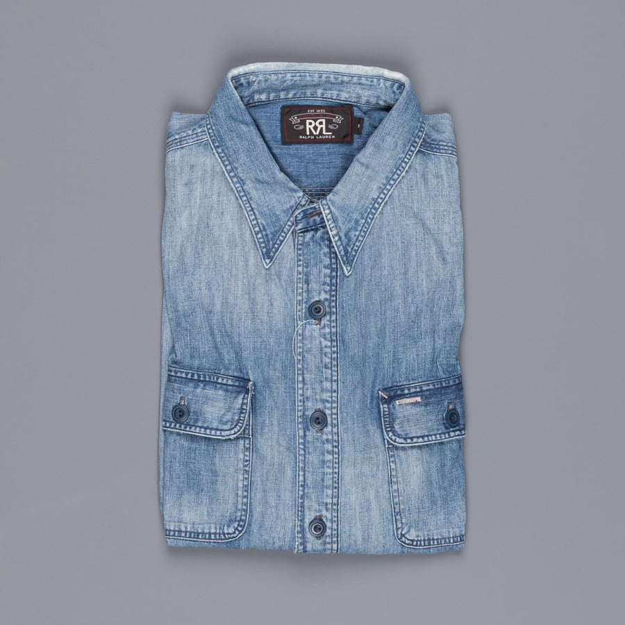 RRL Mason workshirt in 2x1 wide width light weight denim