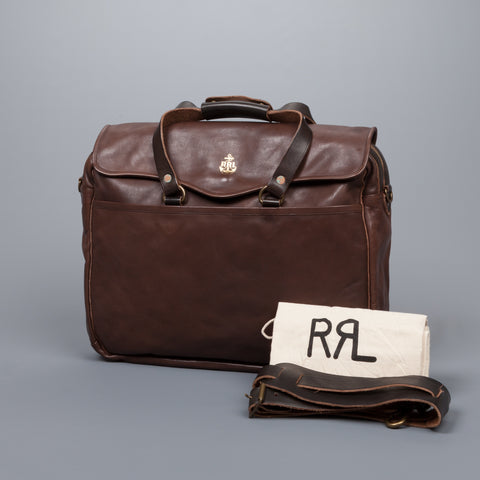 RRL McKinley Business Case Tumbled Leather Black