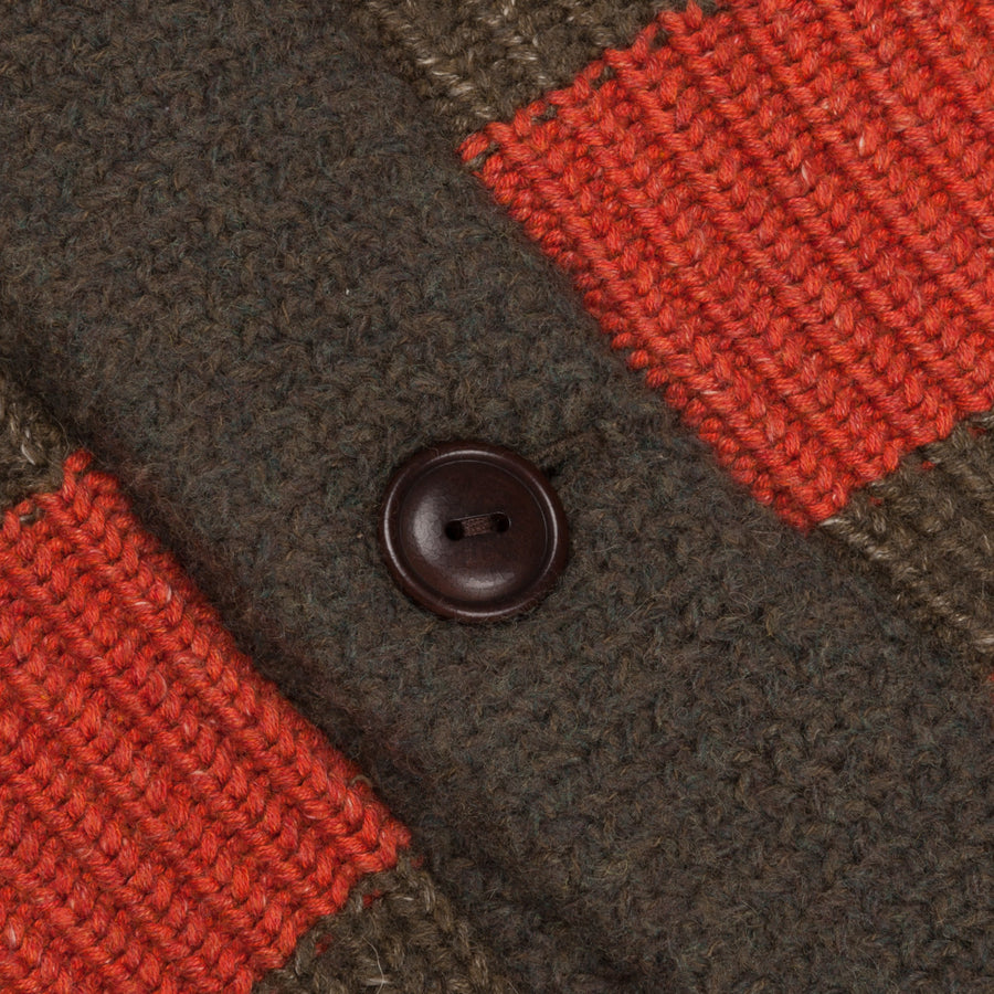 RRL Shawl Collar Olive Orange Rescue Stripe
