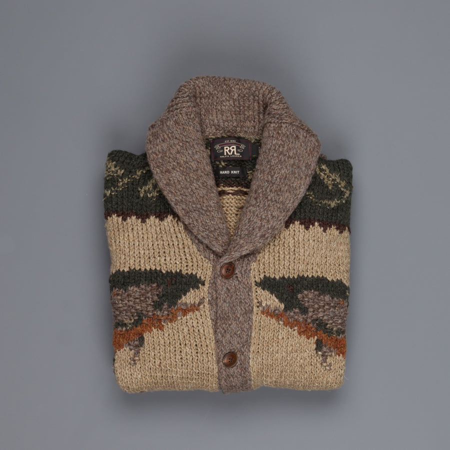 RRL Handknit Shawl Collar Cream Green