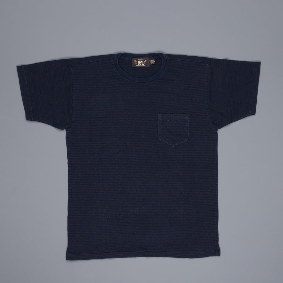 RRL Pocket Tee Short Sleeve Dark Navy and Sulphur Black Striped