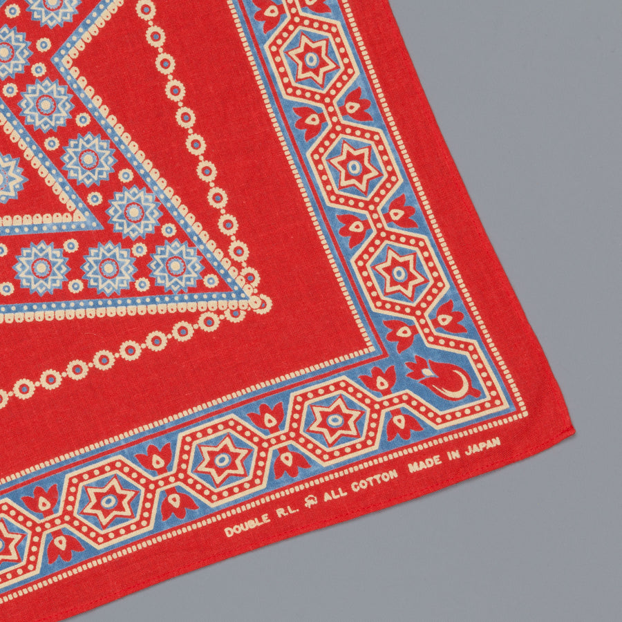 RRL Star Turkey Bandana Red Sea Blue