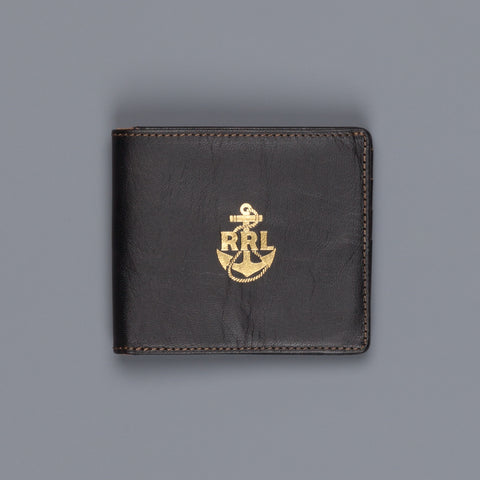 RRL Billfold Wallet Tumbled Leather Black