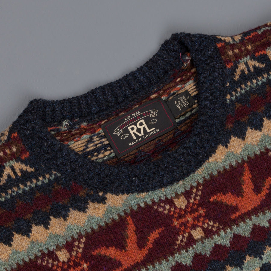 RRL Navy Fairisle Crew Neck