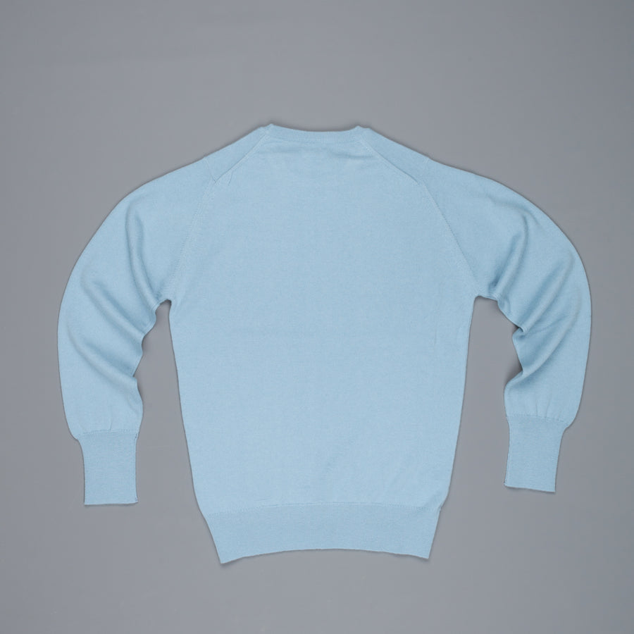 William Lockie Oxton Cashmere V-Neck Blue Mist