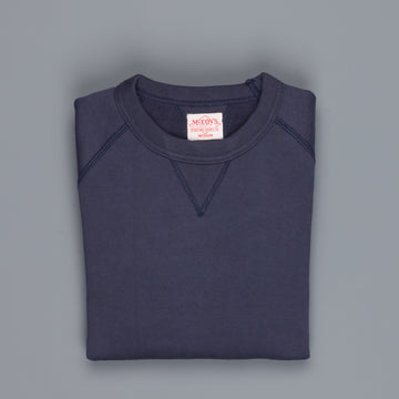 The Real McCoy's 10 Oz Suvin Raglan Sweatshirt Navy
