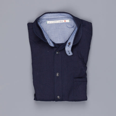 Scarti lab model 310 shirt navy overdyed woven piquet