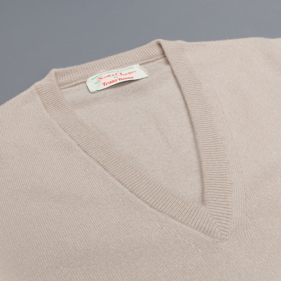 Scott and Charters x Frans Boone V-neck cashmere cotton Earl Grey
