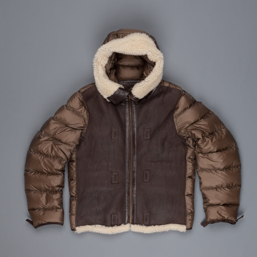 Ten C hooded Shearling Liner Jacket Tobacco