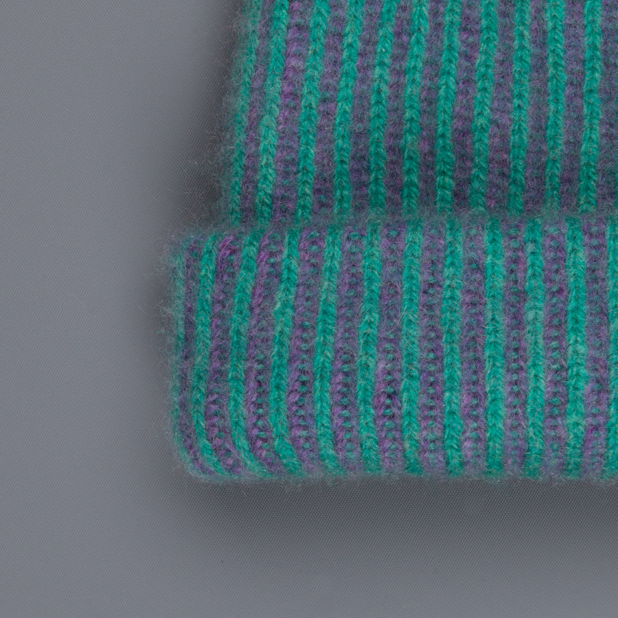 The Elder Statesman 100% Cashmere Watchman cap in Turquoise/Amethyst