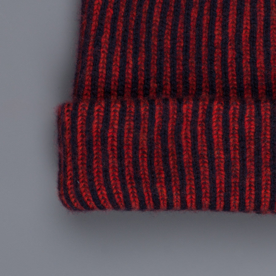 The Elder Statesman 100% Cashmere Watchman cap in Navy/Red