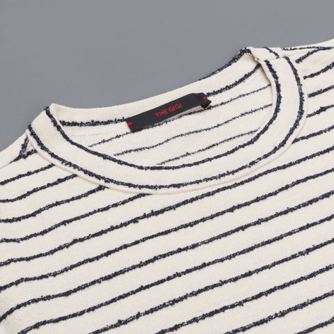 The Gigi Milos White Navy striped Tee