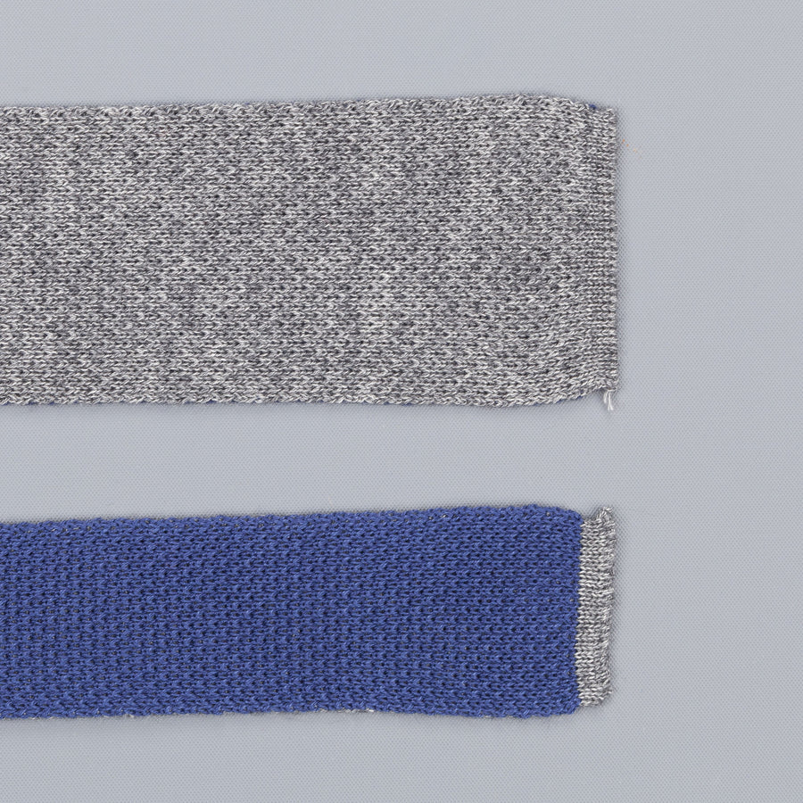 Thomas Mason knitted double face  tie blue grey