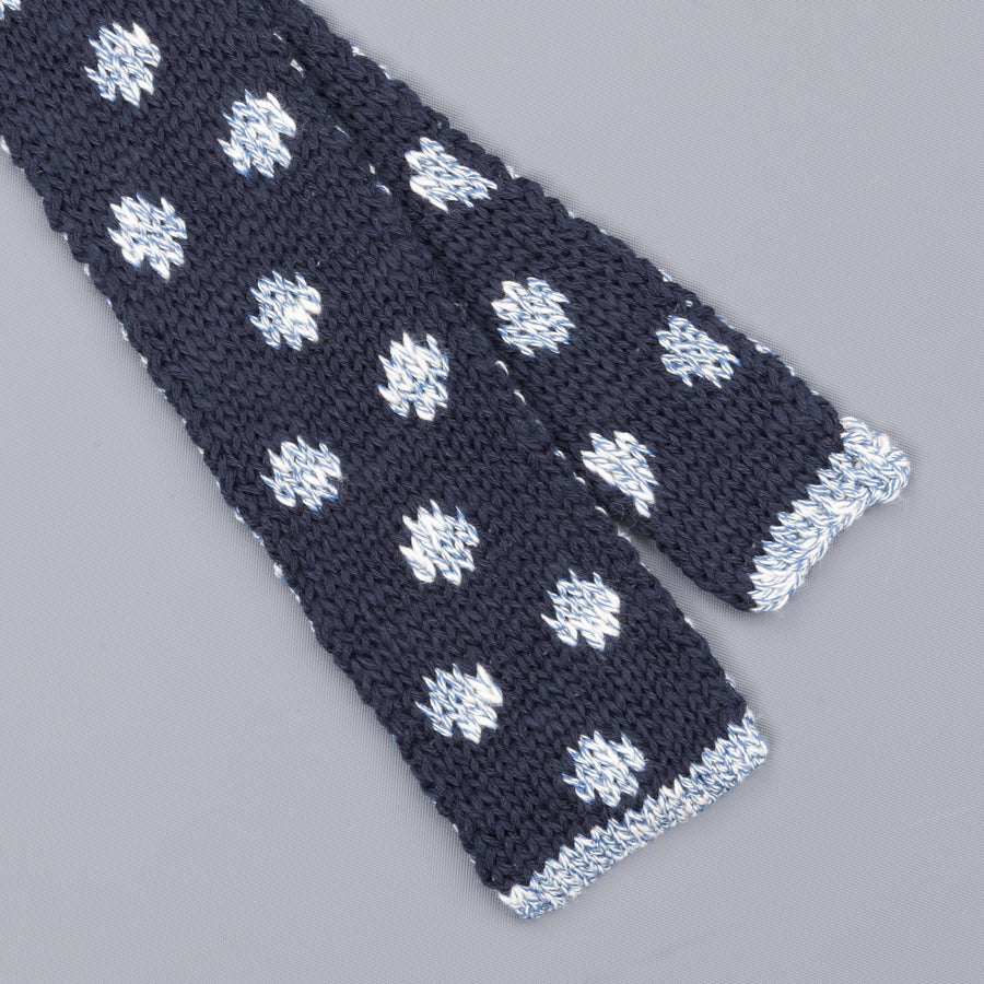 Thomas Mason knitted double face polkadot tie navy
