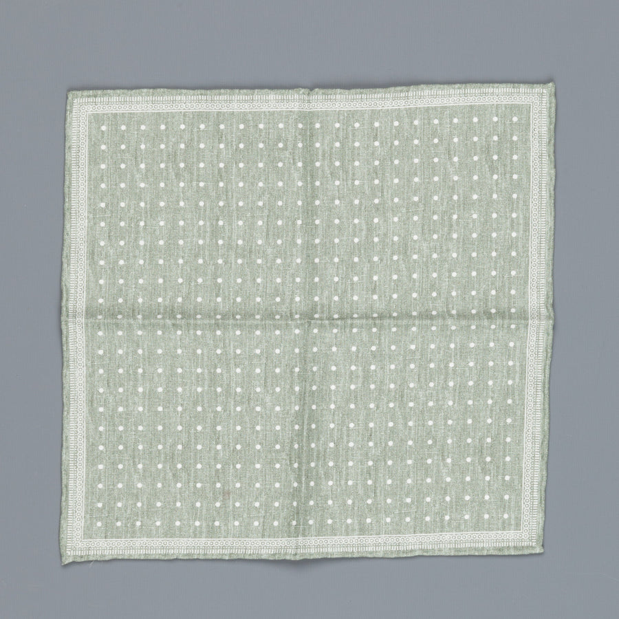 Thomas Mason Pocket Square Canterbury Polka Dot Green
