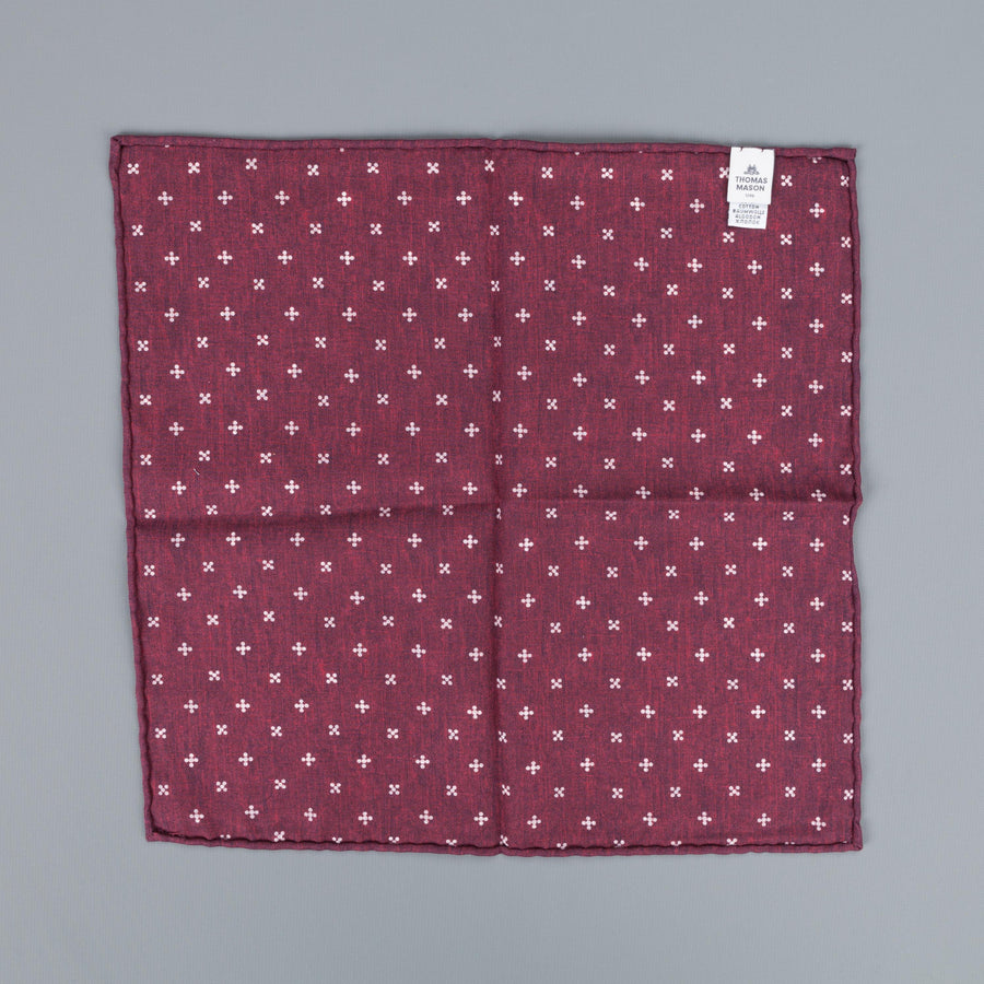 Thomas Mason Pocket Square Canterbury Burgundy Blue Nature