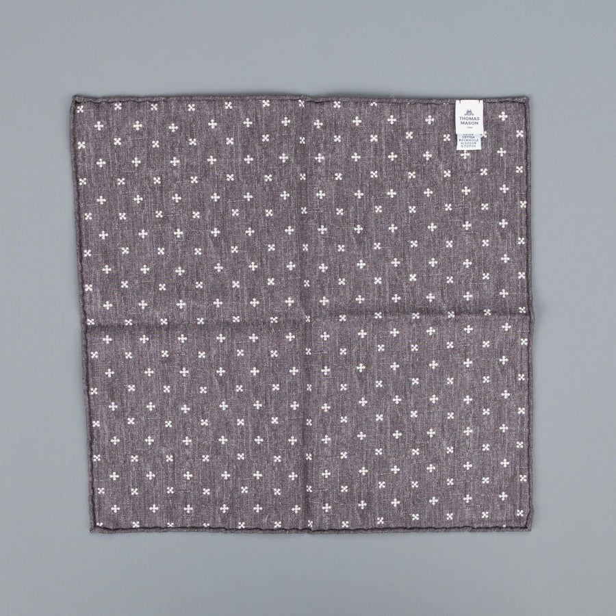 Thomas Mason Pocket Square Canterbury Grey Brown Nature