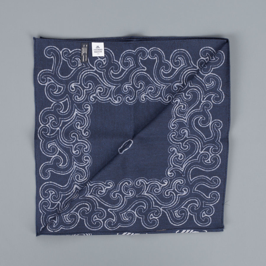 Thomas Mason Pocket Square Canterbury Navy Brown