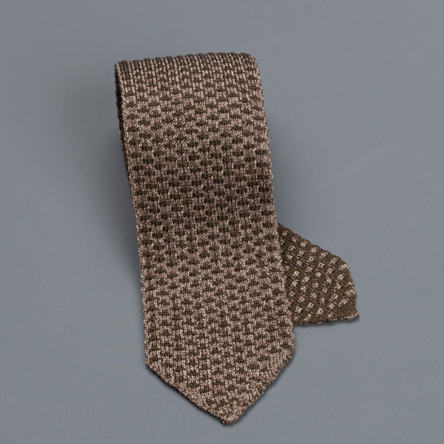 Thomas Mason Ties Paul Silk Jacquard Marrone Noce