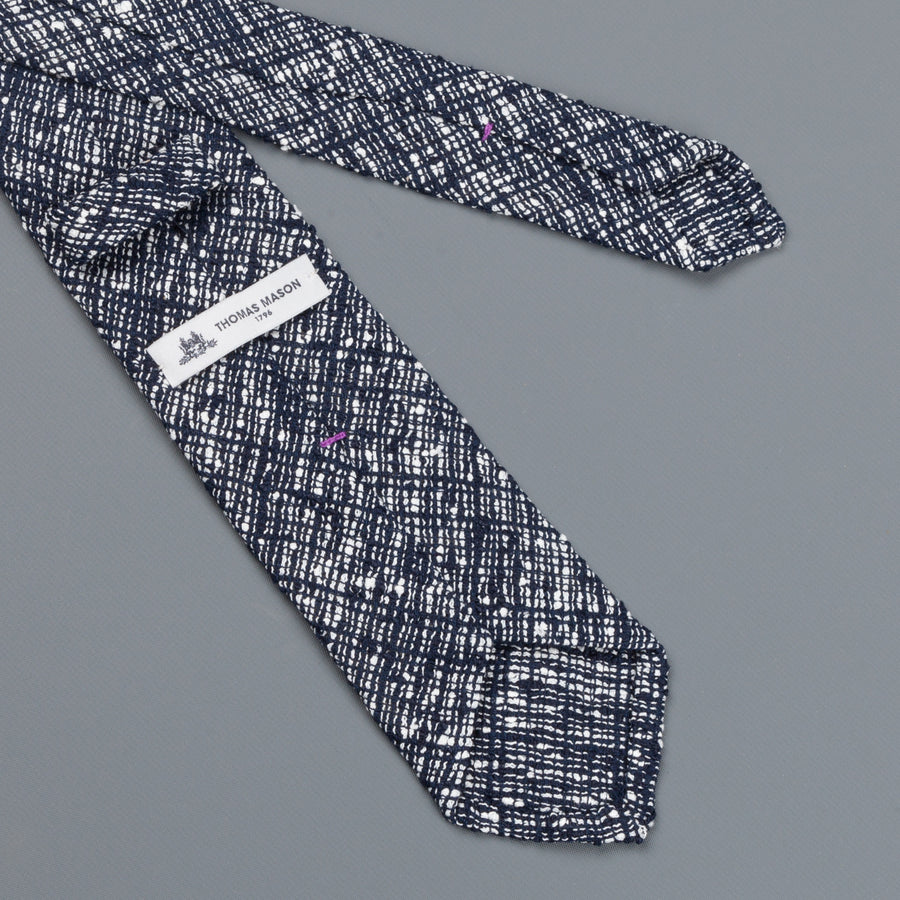 Thomas Mason Tie George Navy White Melange Pile Stitch