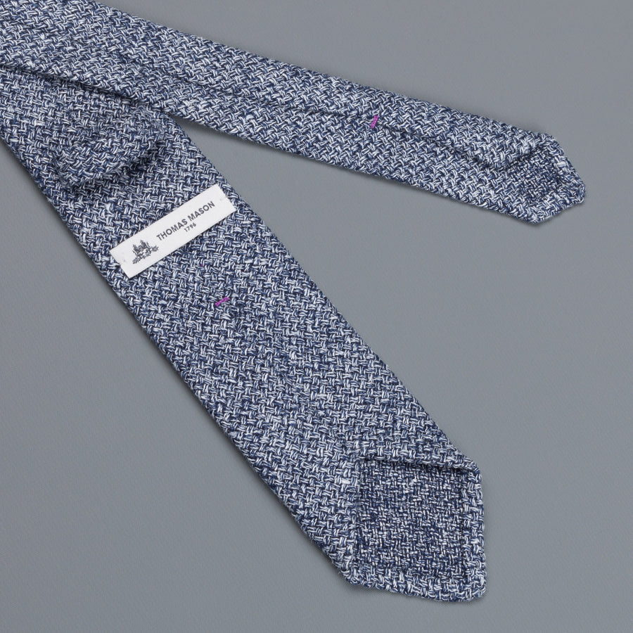 Thomas Mason Tie George Silk Blue White Melange