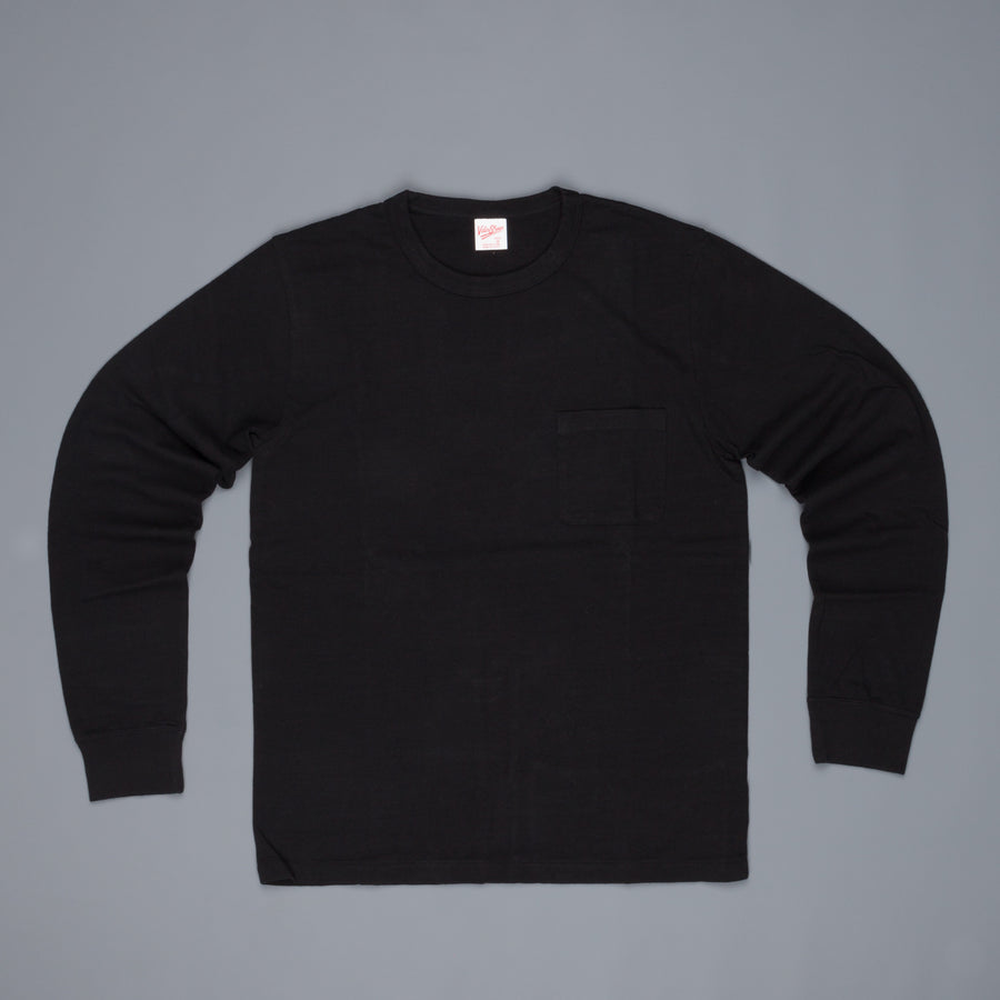 Velva Sheen Recycled Cotton Longsleeve Crew Neck Tee Black