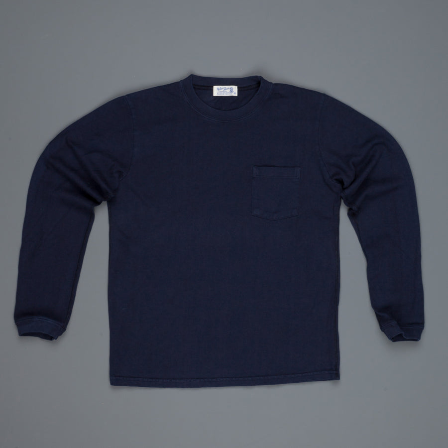 Velva Sheen heavy oz. Longsleeve pocket tee Navy