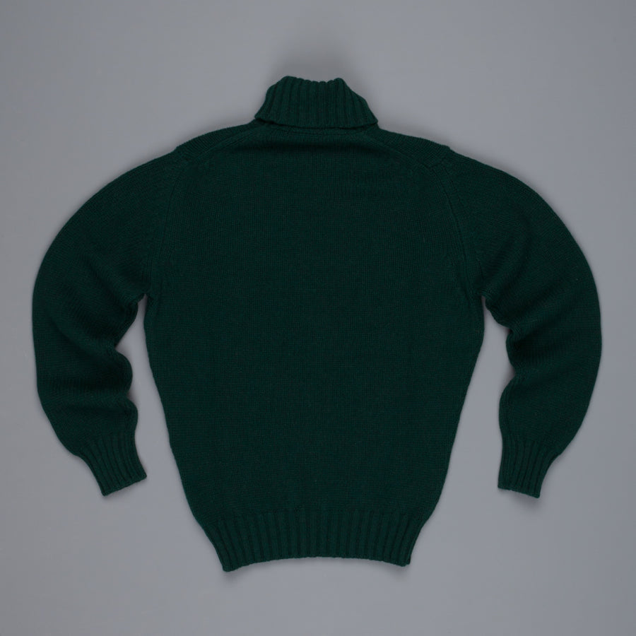 William Lockie Alain Lambswool Roll Neck Tartan Green