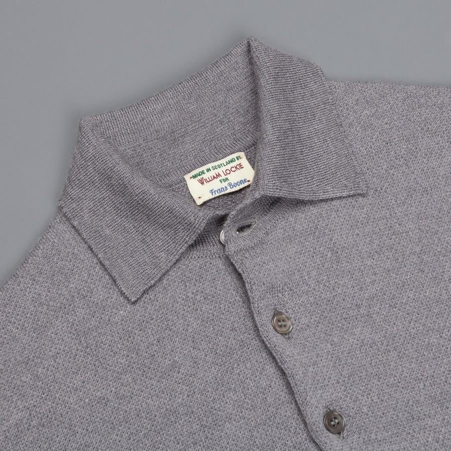 William Lockie Birdseye Merino Wool Polo Solid Grey