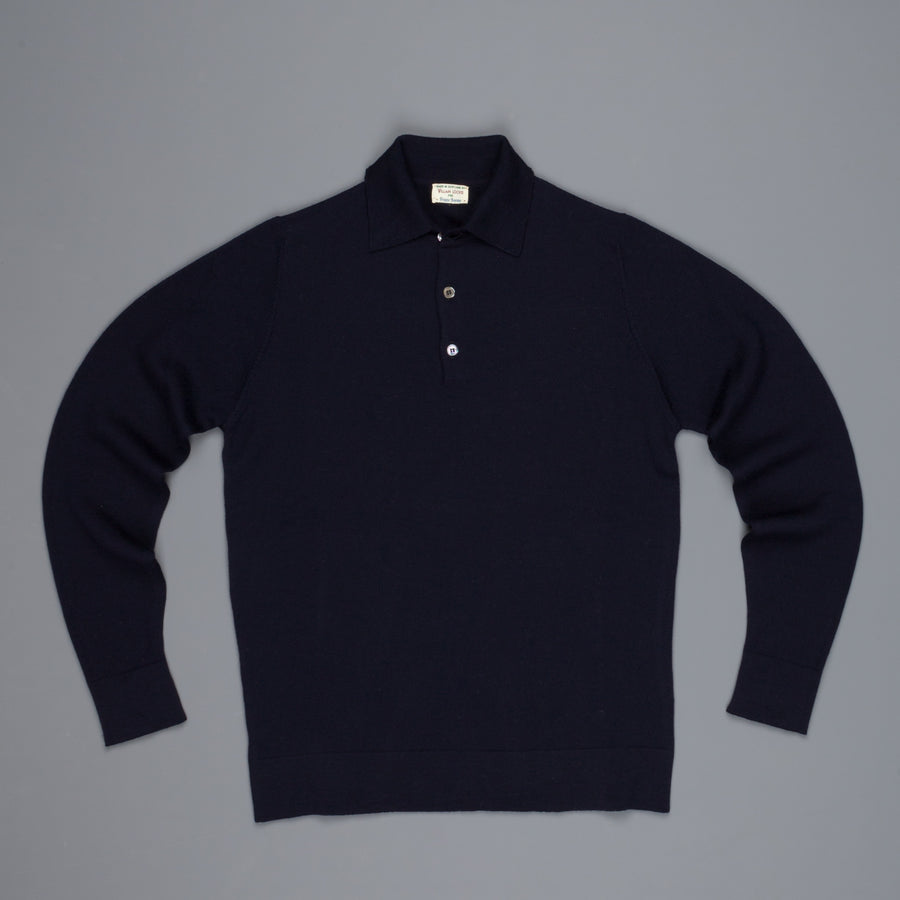 William Lockie Birdseye Merino Wool Polo Solid Navy