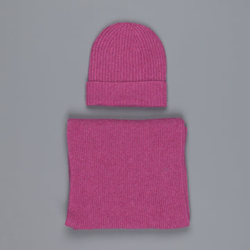 William Lockie Cashmere Ribbed Hat And Scarf Set Loganberry
