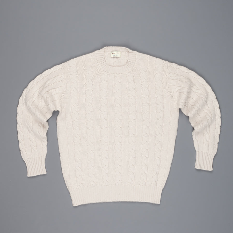 William Lockie Chirnside Cashmere Cable Crew Neck Hessian