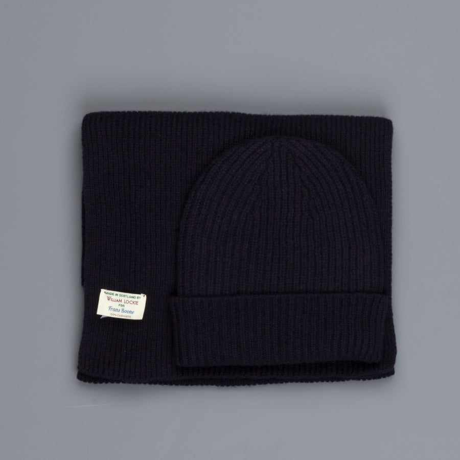 William Lockie Cashmere Ribbed Hat And Scarf Set Navy