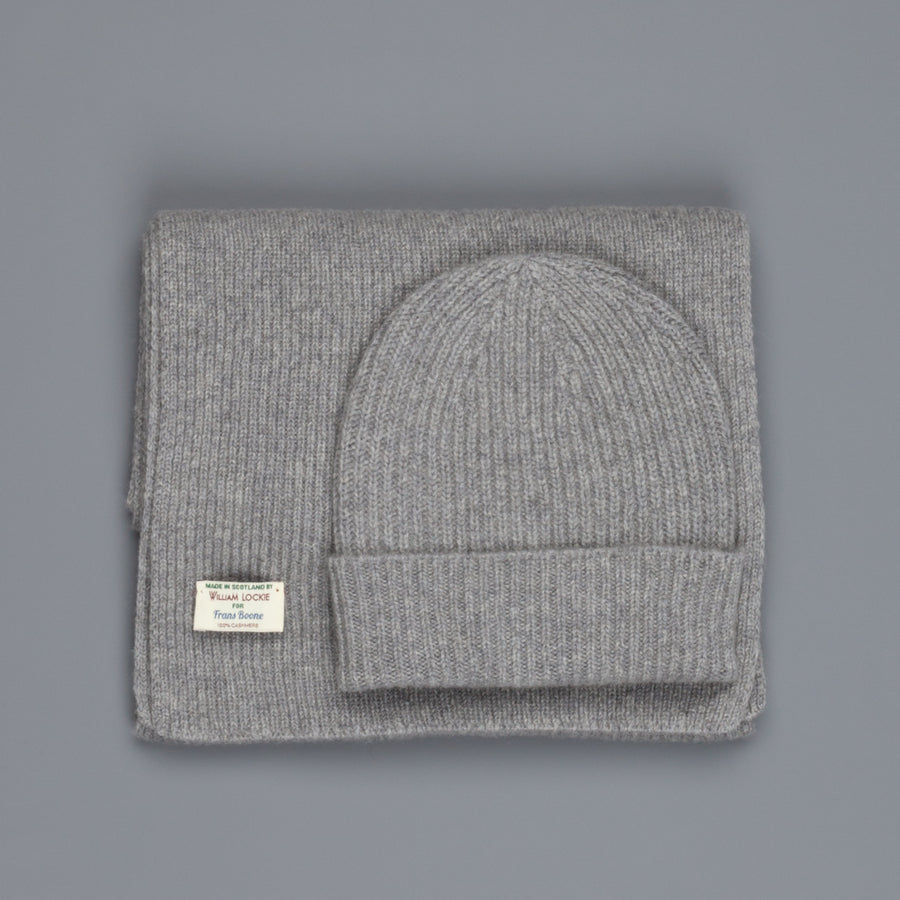 William Lockie Cashmere Ribbed Hat And Scarf Set Flannel Grey