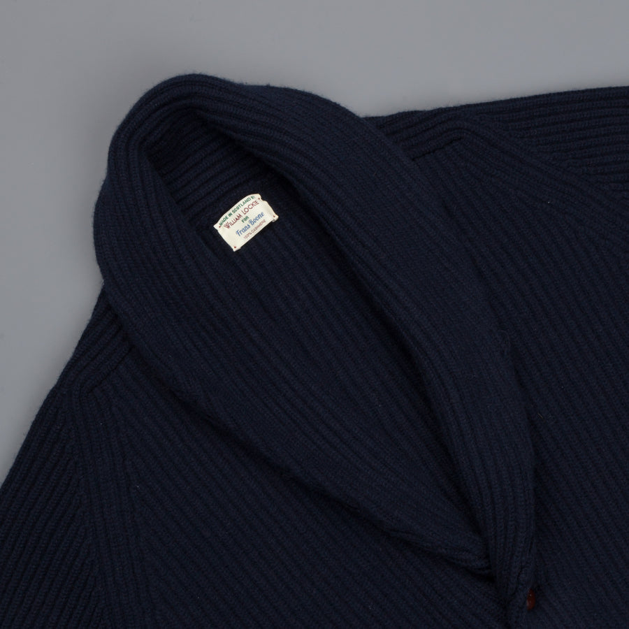 William Lockie Windsor Cashmere Shawl Cardigan Dark Navy