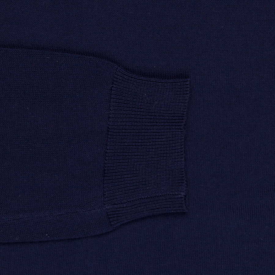 Zanone Crew neck crepe cotton sweater blu scuro