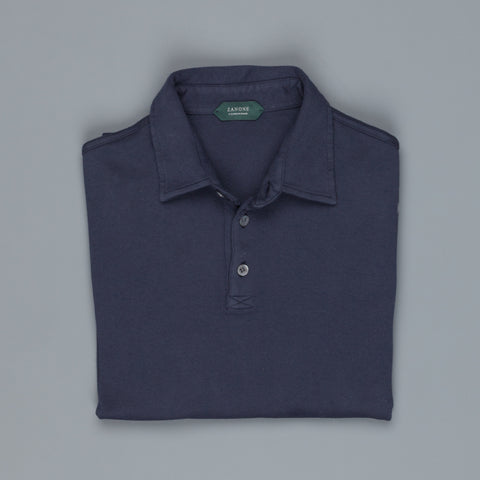 Zanone Longsleeve Polo Pima Cotton Blue